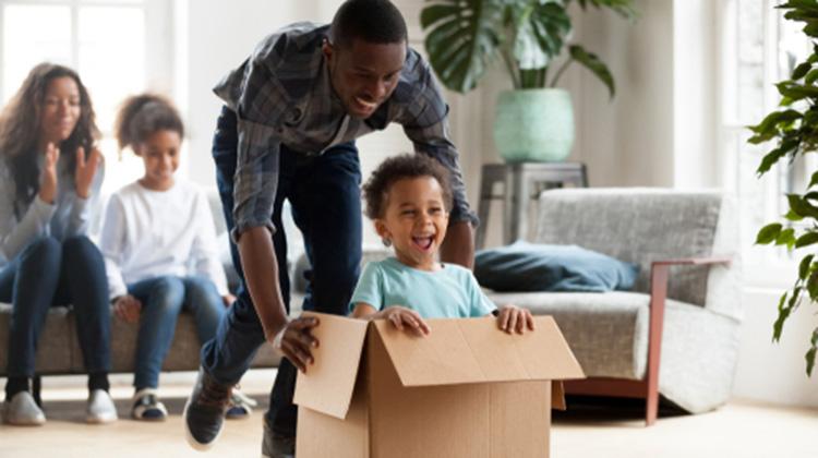 happy family moving